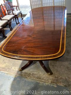 Exquisite Mahogany and Satin Wood Banded Inlay Double Pedestal Table/Banquet Beautiful Brass Claw Feet