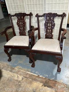 Set of 2 Captain's Chairs, Chippendale Style, Mahogany Dining Chairs