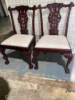 Set of 2 Chairs Chippendale Style Mahogany Dining Chairs