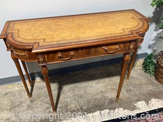 Maitland Smith Inlaid Mahogany One Drawer Console Table W/Beautiful Embossed Print on Table Top