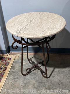 Wrough Iron Base end Table W/Marble Top