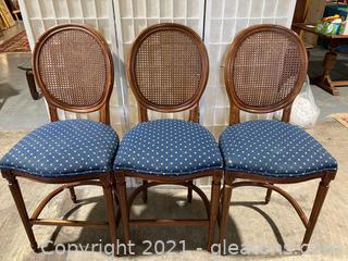 Lot of 3 Classic Cane Back Barstool Cushion Seat