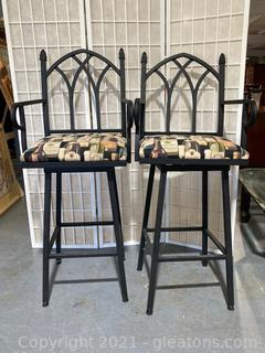 Gothic Style, High Back, Wine Themed Cushioned Barstools  W/Arms, Swivel , Lot of 2