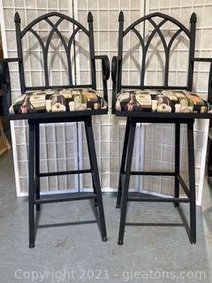 Gothic Style, High Back, Wine Themed Cushioned Barstools  W/Arms, Swivel, Lot of 2