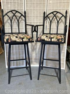 Gothic Style, High Back, Wine Themed, Cushioned Barstools  W/Arms, Swivel, Lot of 2
