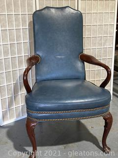 Classic Leather Soft Blue Wing Back Chair W/Nailhead Details
