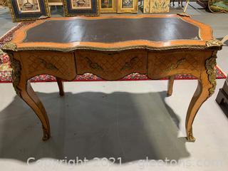 Ornate Louis XV Bureau Plat Writing Desk W/ Gilt Bronze Detail