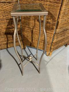 Metal & Beveled Glass Plant Stand