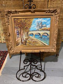 Signed Painting of Notre Dame, by Thenon