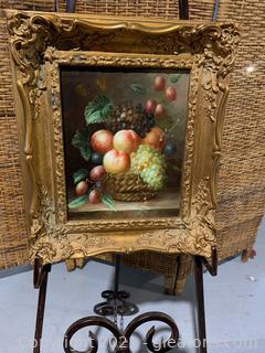 Lovely Fruit Painting in Ornate Gold Frame