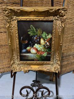 Delightful Fruit & Wine Painting in Gold Frame