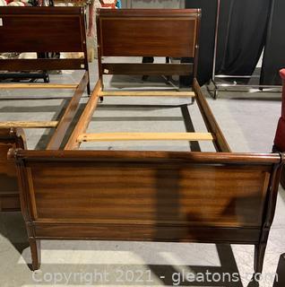 Drexel Mahogany Twin Sleigh Bed Frame
