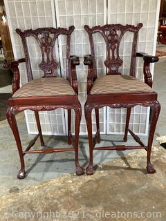Lot of 2 Mahogany Chippendale Style Bar Stools