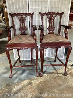 Lot of 2 Chippendale Style Mahogany Bar Stool