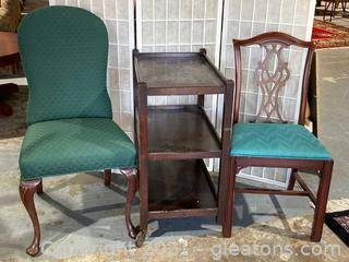 Lot of 3, Mahogany Rolling Cart (3 Tier) , Cushioned Dining Chair, Upholstered Dining Chair W/Green Fabric