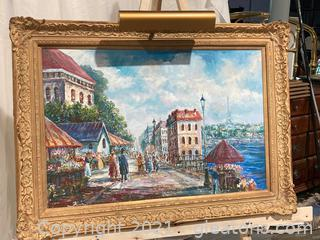 Beautiful Paris Street Scene Oil Painting W/Large Gold Frame and Gallery Light(Electrical)