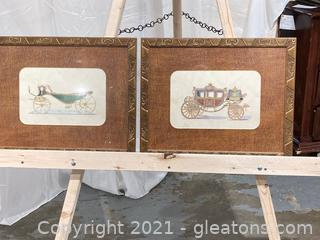 Intricate watercolor designs of vintage coaches, Coach 1-IV Wall art, Framed and Matted