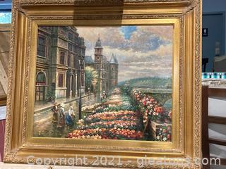 Lovely French Flower Market Canvas art in Heavy Gold Frame W/Gallery Lighting