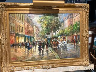 Parisian Street Scene Canvas Art W/Heavy Gold Frame and Gallery Light