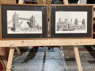 "Artist Bernard Smith ""London Landmarks"" Lithograph Prints Framed"
