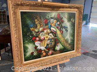 Gorgeous Large Canvas Art by Man Yushing, Lush Floral Arrangement W/Impressive Peacock and Cockatoo