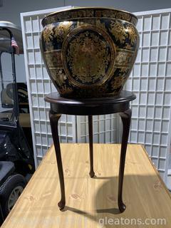 Lovely Asian Inspired Porcelain Urn with Base