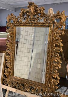 Striking Gold Framed Neo-Classic Style Carved Mirror