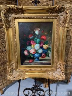 Beautiful Framed Still Life of a Bouquet of Flowers in Vase