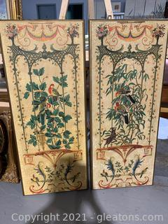 Unique Painted Asian Inspired Wood Panel Art (Lot of 2)