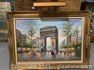 Gorgeous Framed & Matted Paris Scene of Arc De Triomphe
