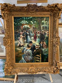 Beautiful Painting of Couples Dancing in The Park in Ornate Gold Frame