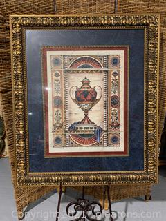 Framed Picture of and Ornate Urn W/ Grapes