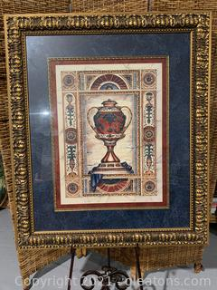 Framed Picture of an Ornate Urn W/ Grapes