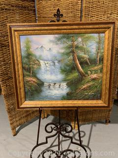 Mountain & Waterfall Painting on Canvas