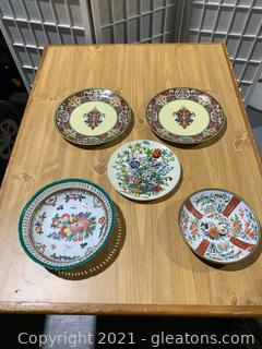 Interesting Asian Inspired Plate & Bowl Lot (Lot of 5)