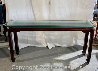 Gold Trimmed Glass Top Console Table