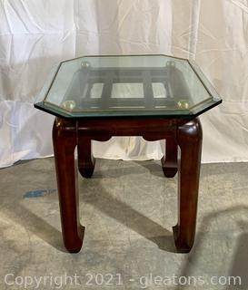 Gold Trimmed Glass Top Side Table