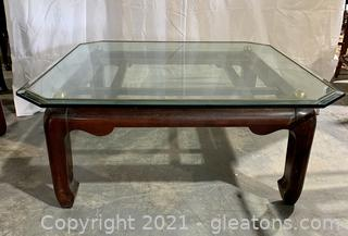 Gold Trimmed Glass Top Coffee Table
