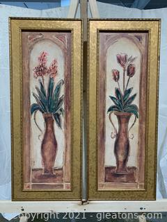 A Pair of Long Framed Floral Signed Prints