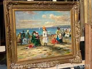 Summers by The Seashore by Artist Vanilli Oil Painting on Canvas