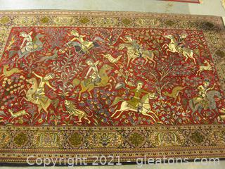Stunning Wool Pile Rug From India (Fringed)