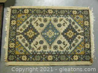 Small Fringed Low-Pile Area Rug