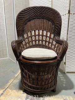 Bamboo Rattan Wingback Chair