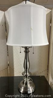 Brushed Nickel Candlestick Table Lamp