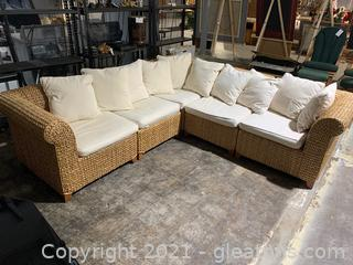 Outdoor Coastal Pottery Barn Seagrass 5 Piece Sectional, in Natural