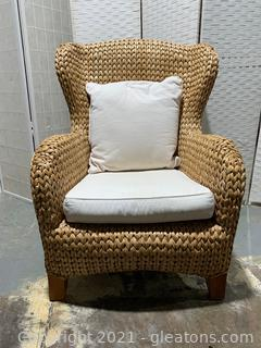 Coastal Pottery Barn Seagrass Wingback Chair, in Natural