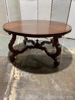 Round Mahogany Wood Coffee Table