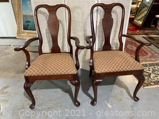 Queen Anne Upholstered Dining Arm Chairs (Lot of 2)