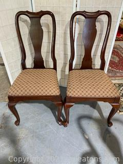 Queen Anne Upholstered Dining Side Chairs (Lot of 2)