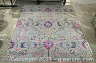 Inviting Gray Floral Area Rug
